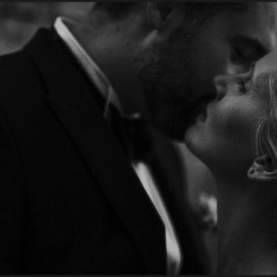Romantic portrait of bride and groom in Volterra