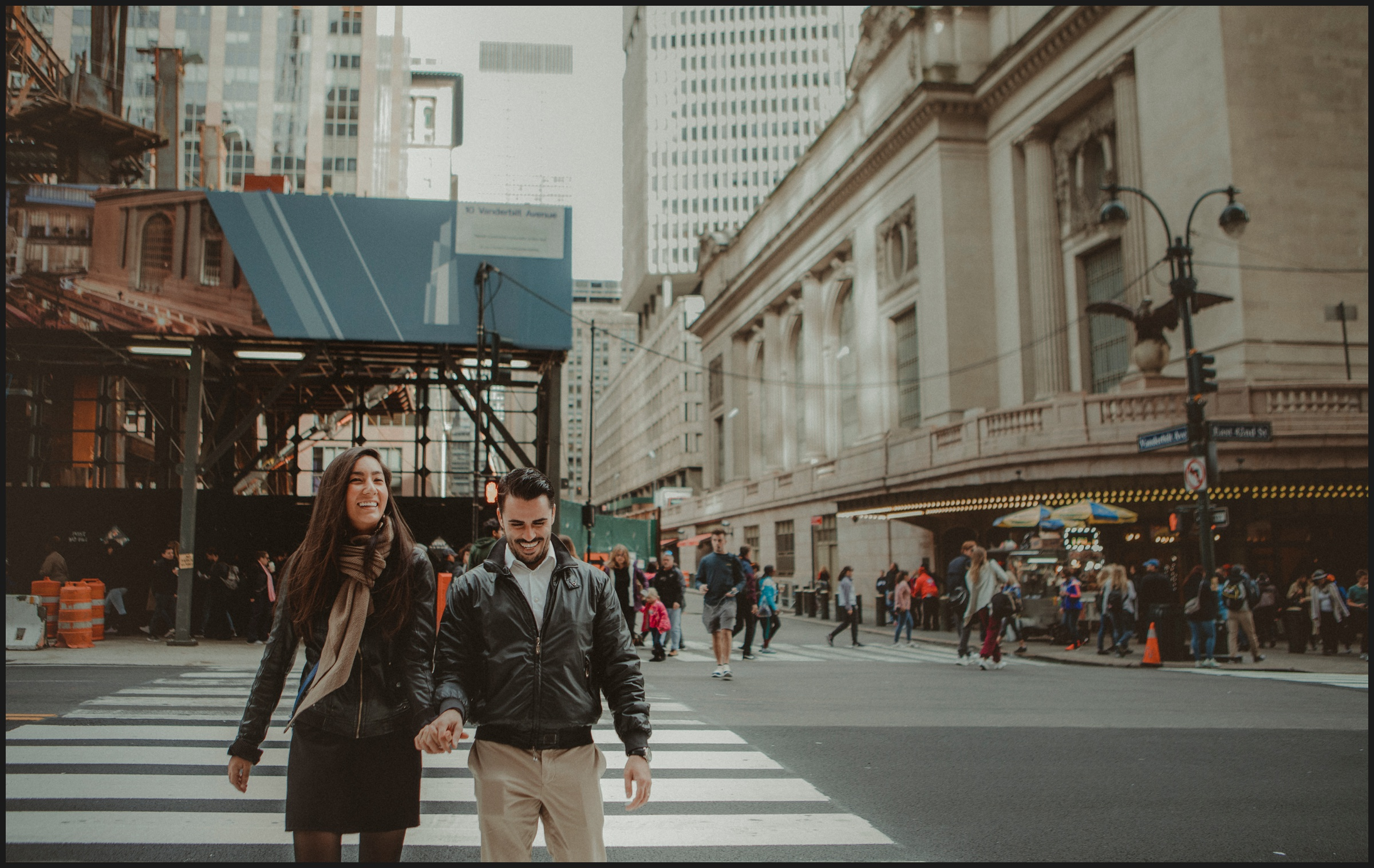 boy and girl walking on New York streets