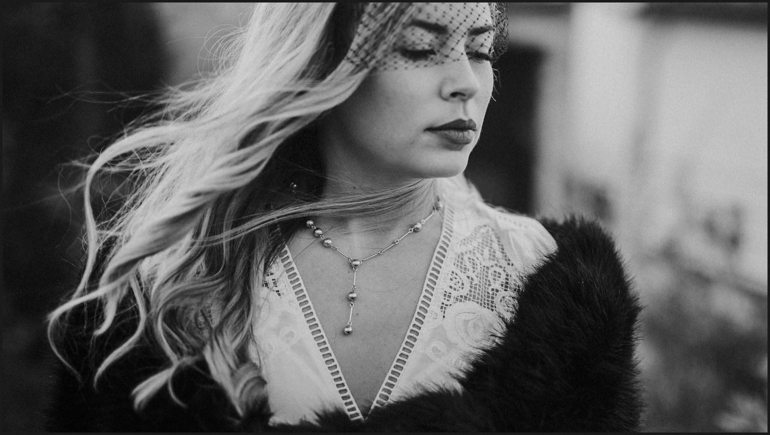 bride, black and white, portrait, wind, hair