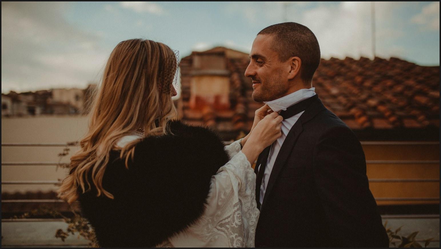 bride, groom, preparation, tie
