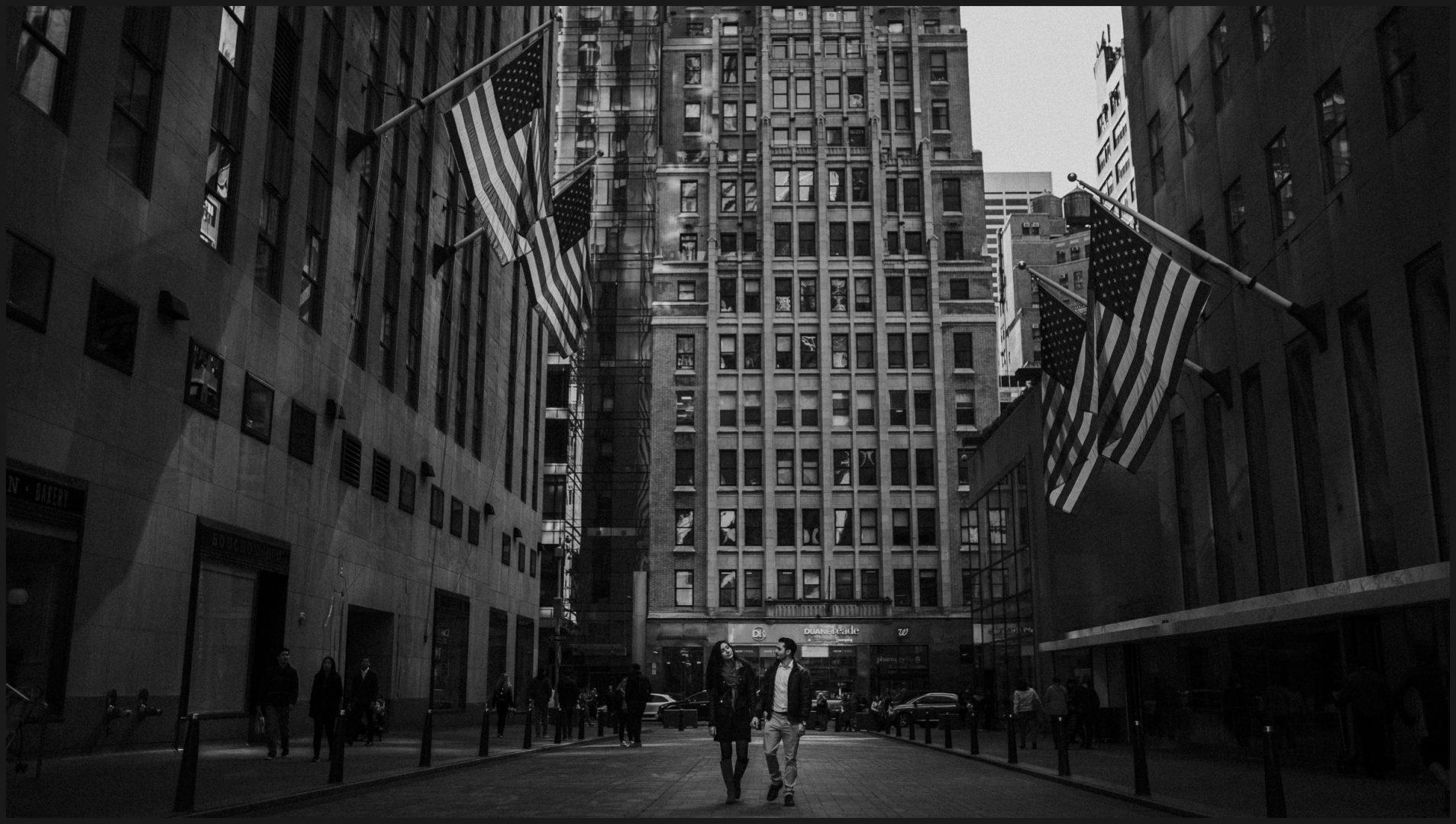 black and white picture, Rockefeller Center, New York City
