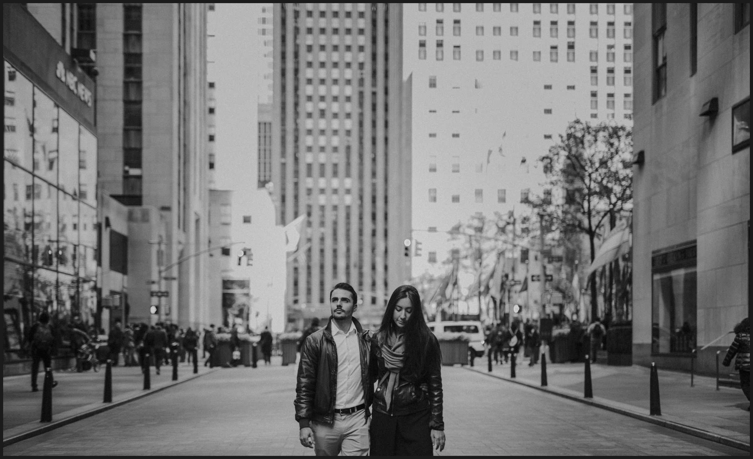 black and white, man, woman, city