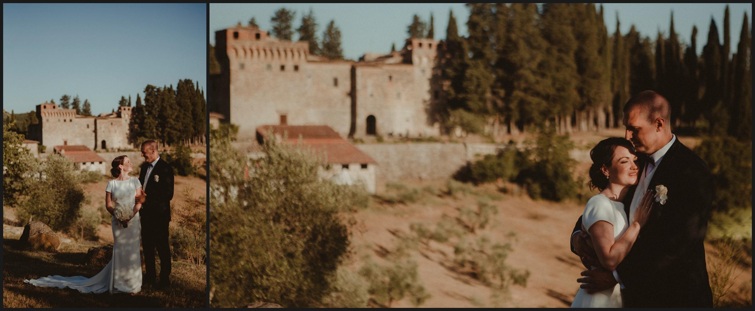 bride and groom in front of Castello del Trebbio