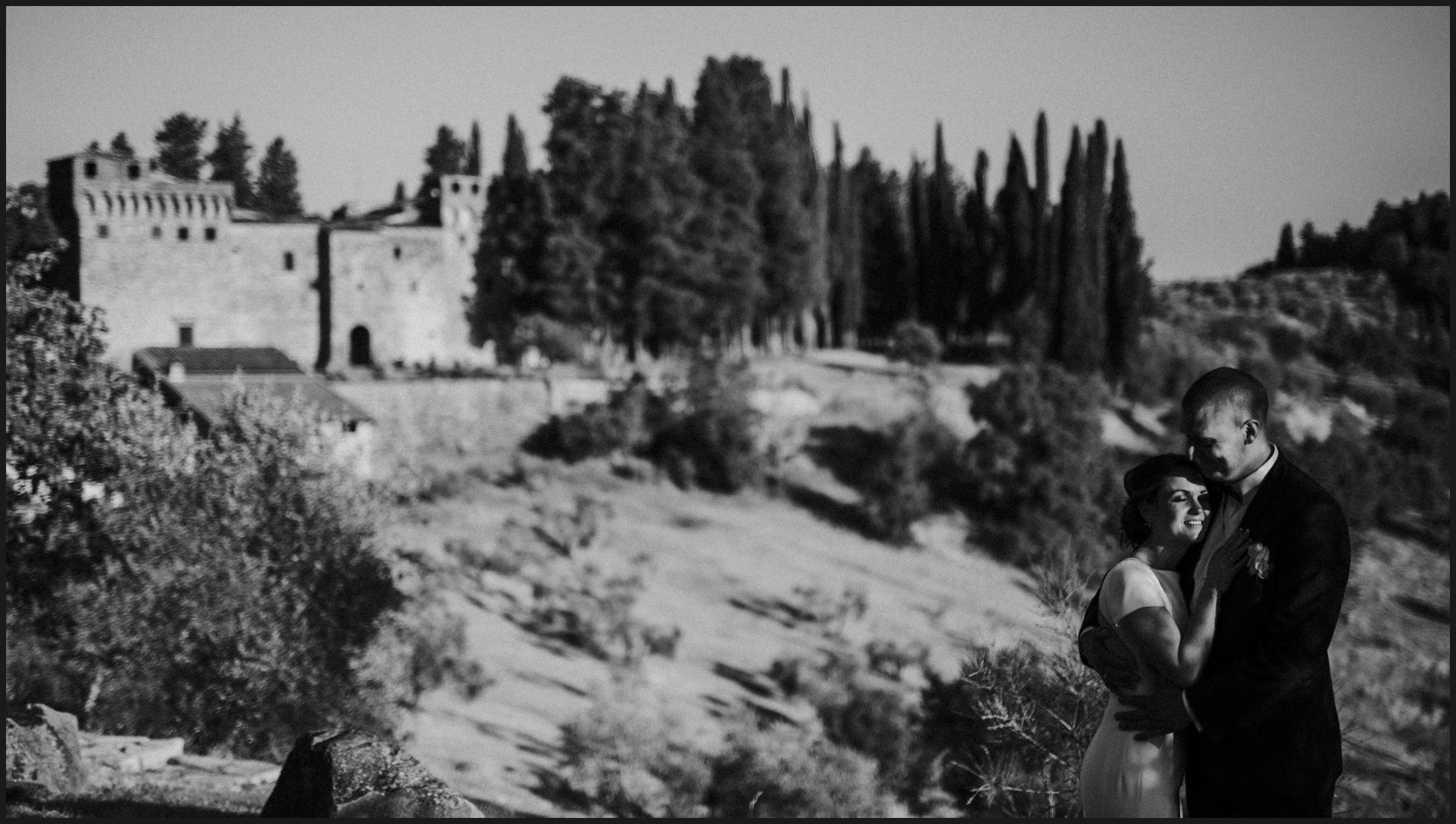 bride and groom, Castello del Trebbio