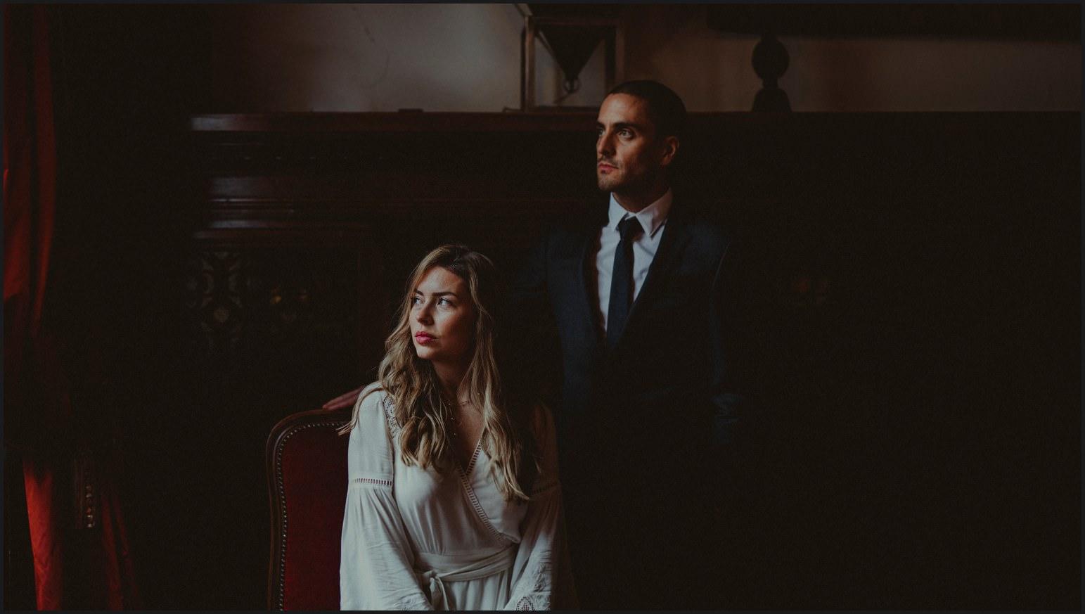 bride, groom, elopement, living room