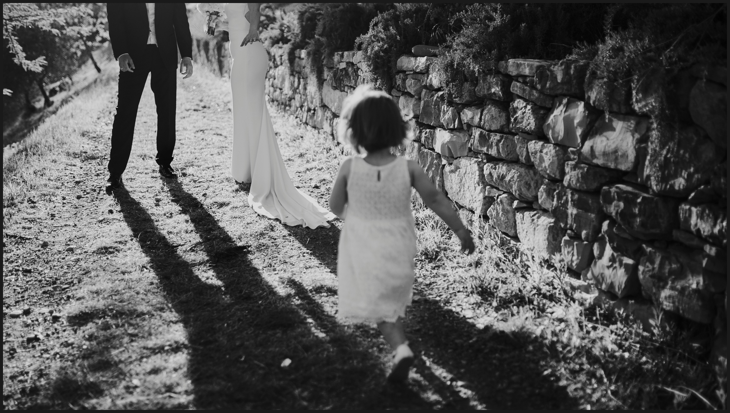 black and white picture of a running baby