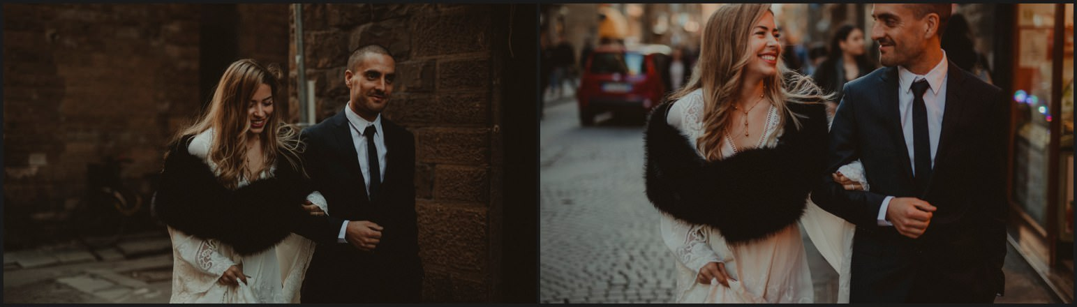 bride, groom, walking, florence, elopement
