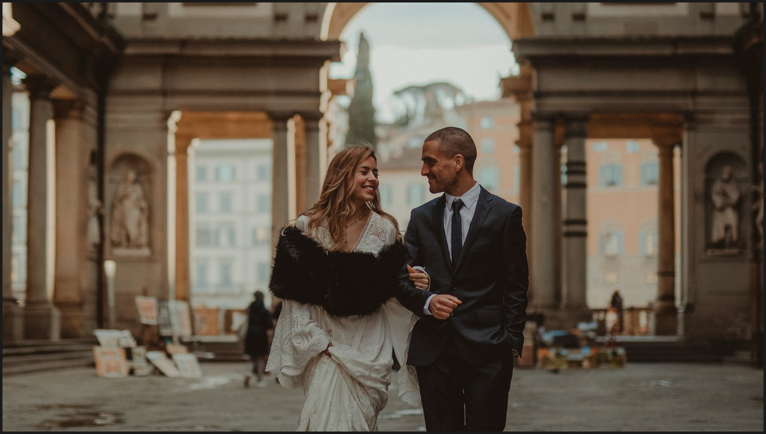 bride, groom, elopement, uffizi, florence, wedding