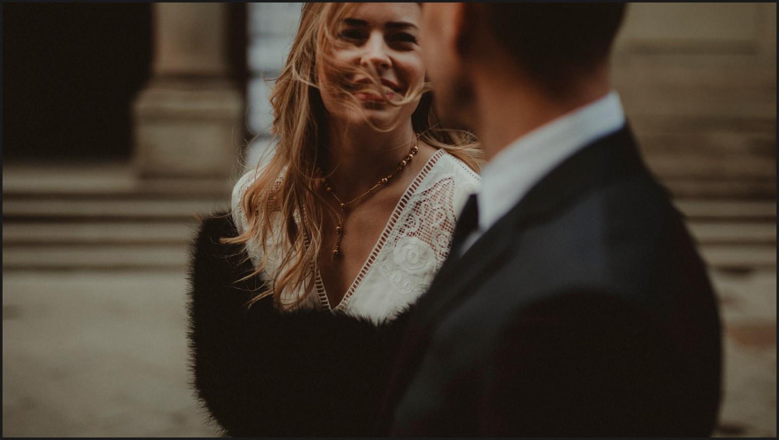 bride, groom, smile, hair, elopement