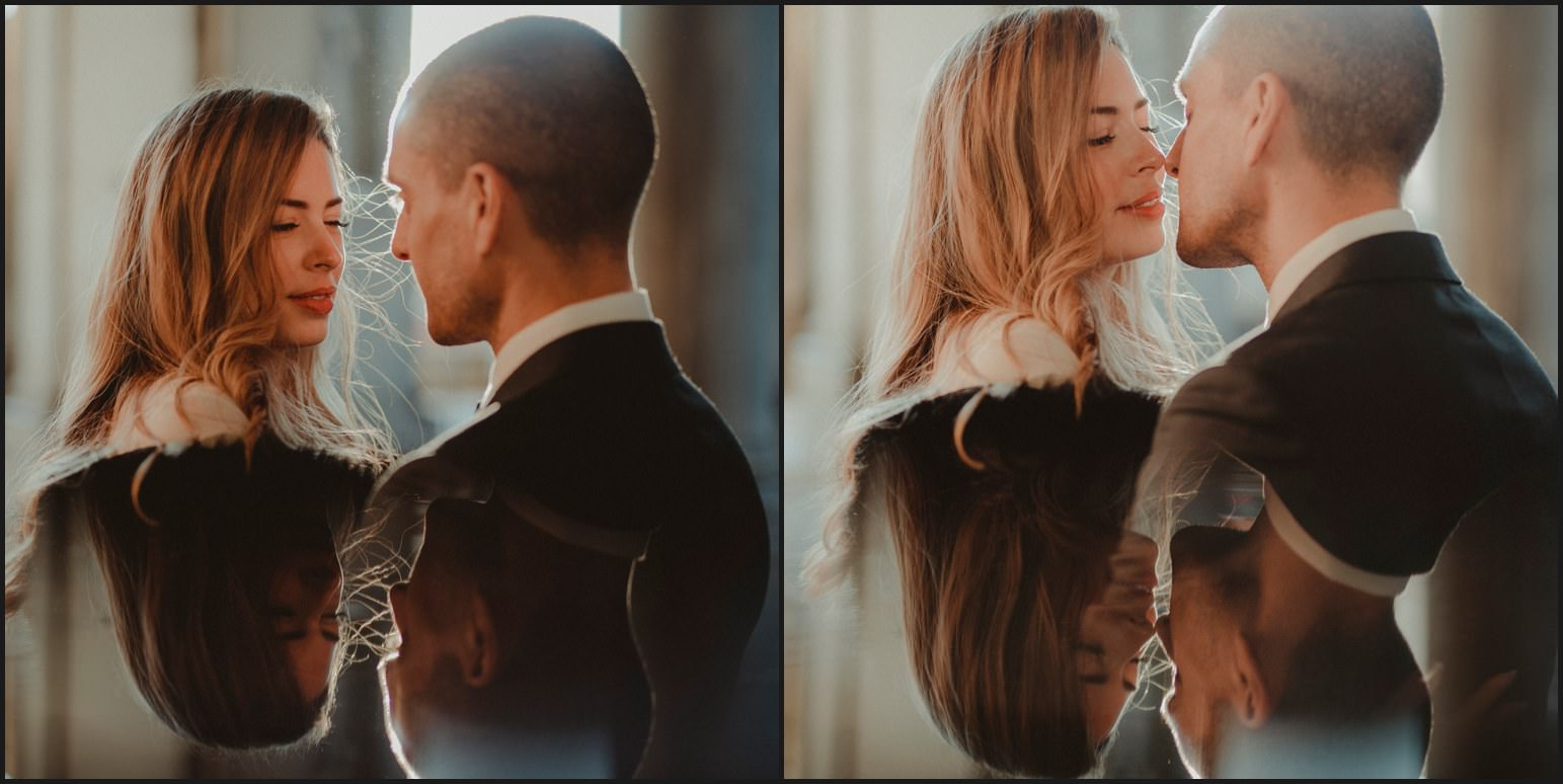 bride, groom, reflections, florence, elopement