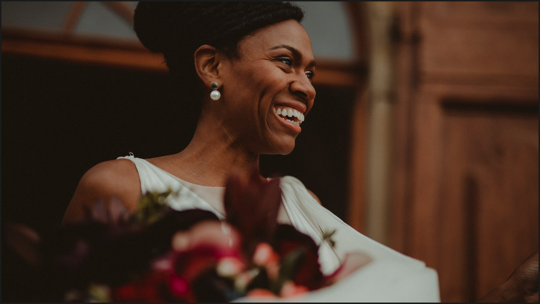 portrait, bride, wedding, smile