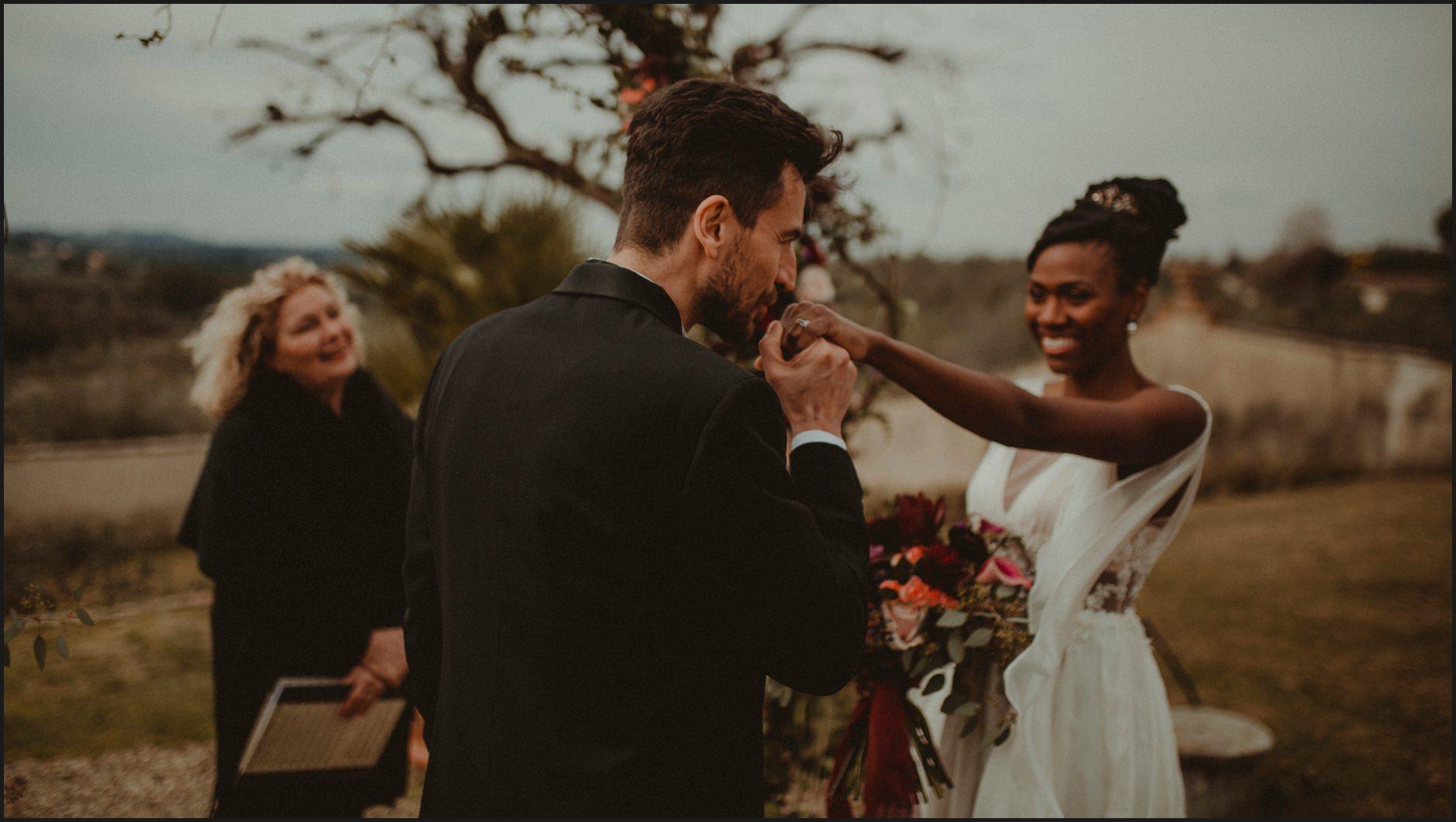 bride, groom, kiss, ceremony, villa medicea di lilliano, wedding