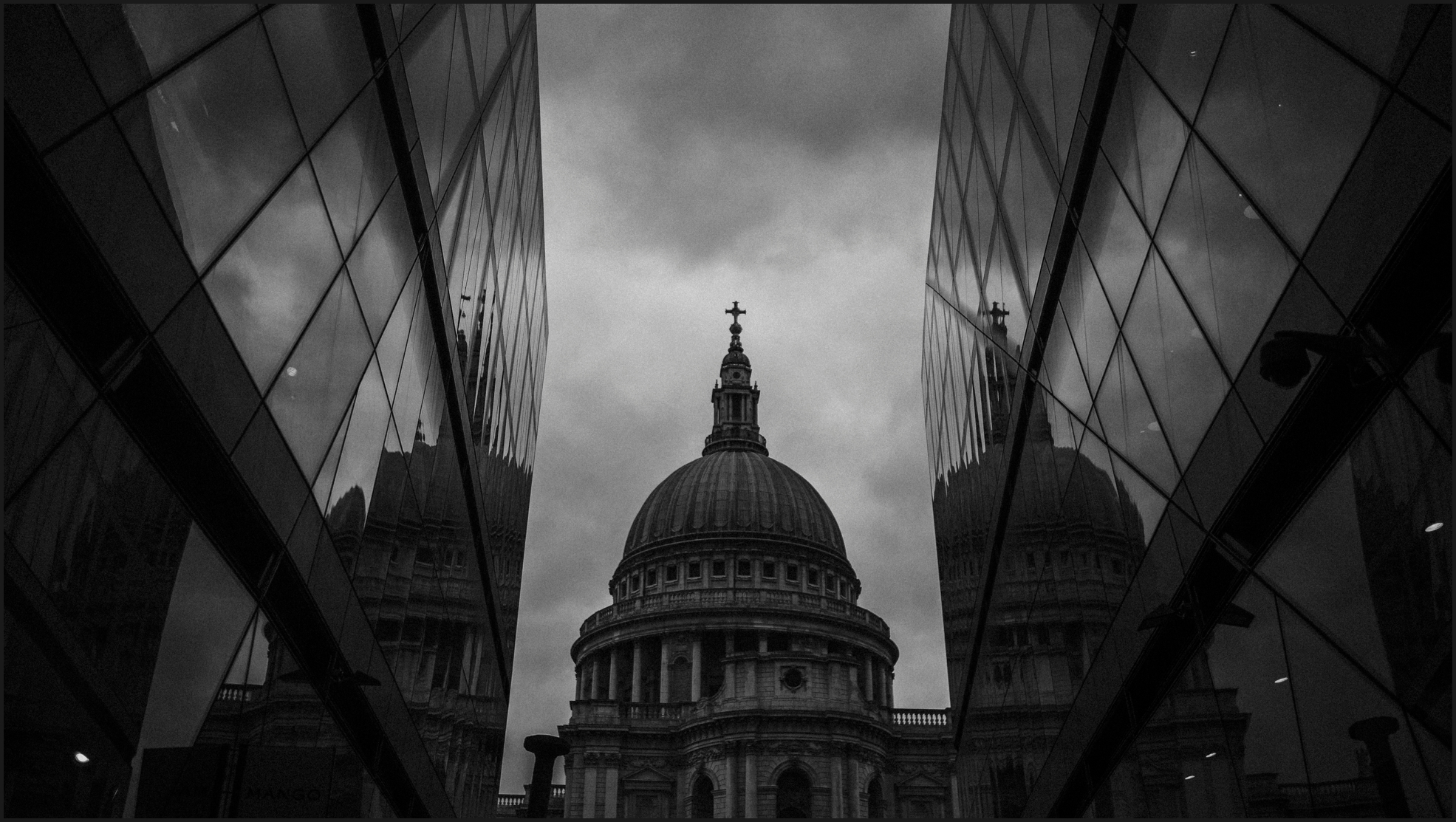 black and white, landscape, london, st. paul's cathedral