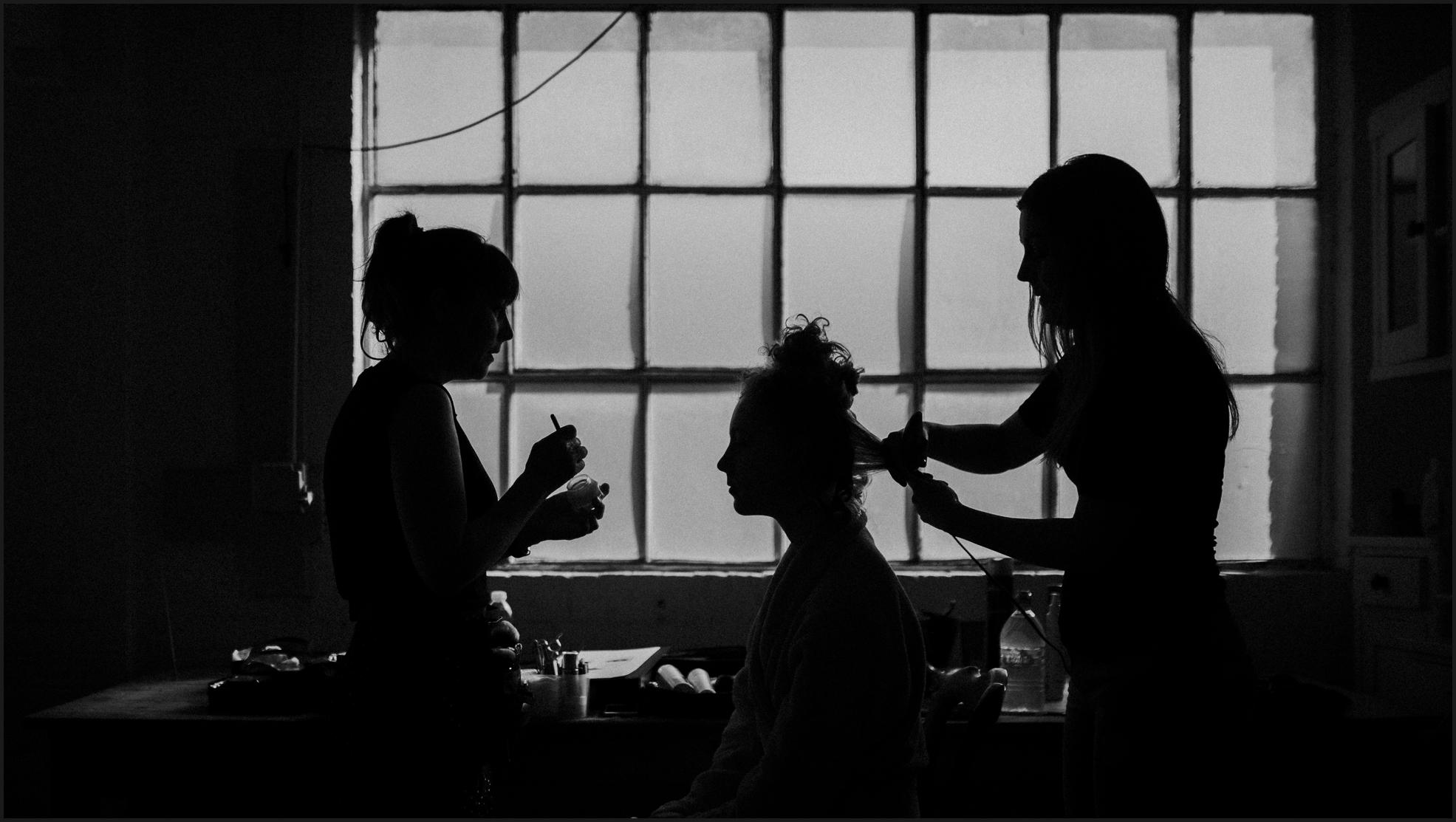 bride, preparation, black and white