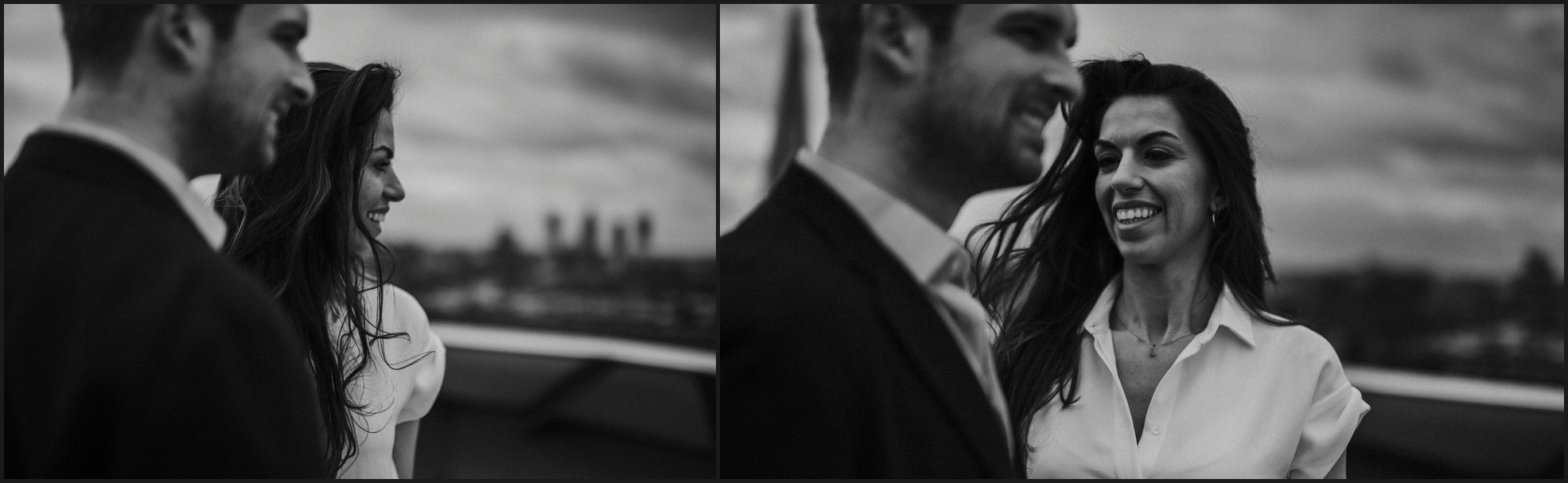 black and white, london, engagement photosession, smiles, love, couple