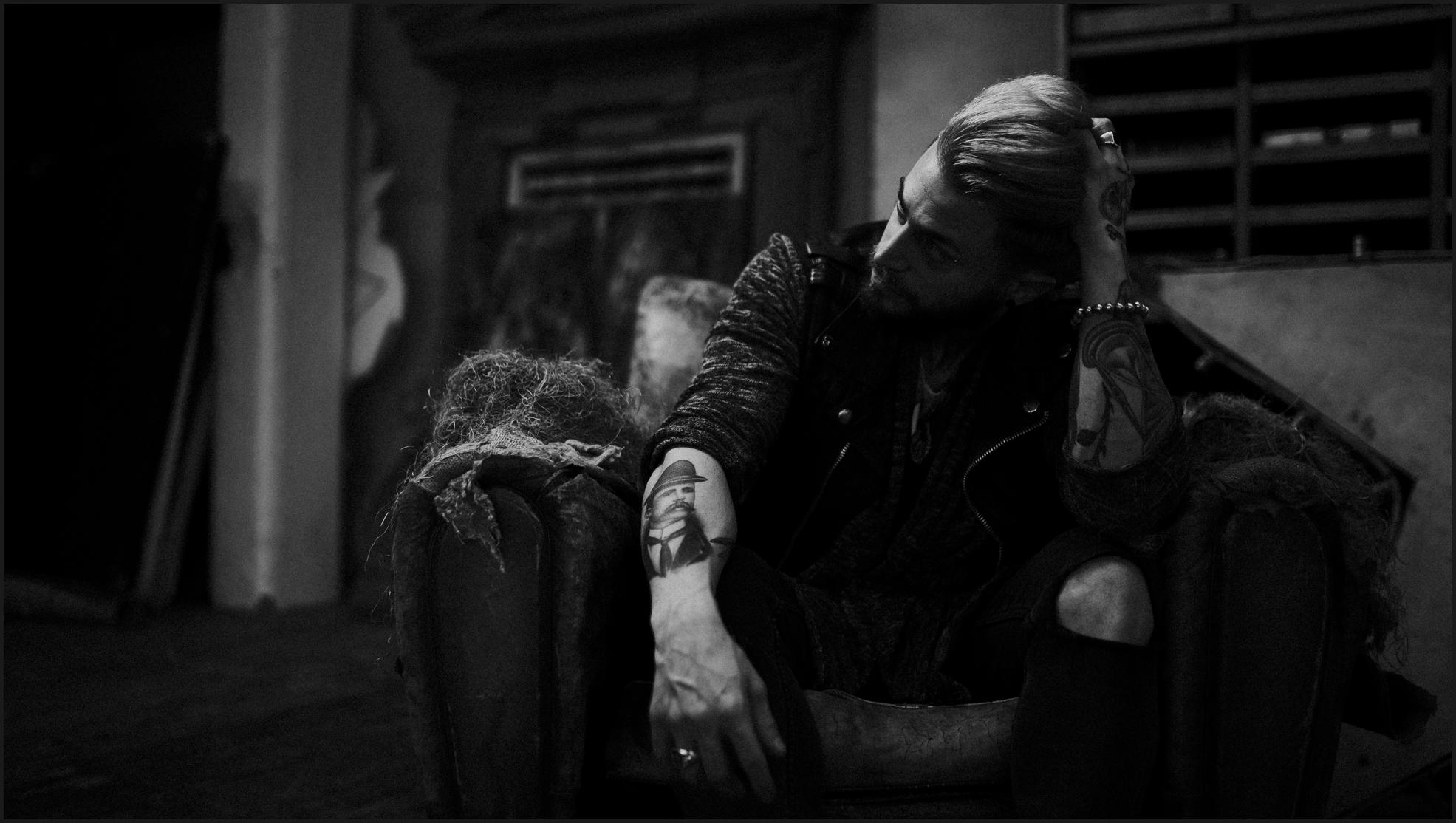 black and white, groom, boy, tattoo