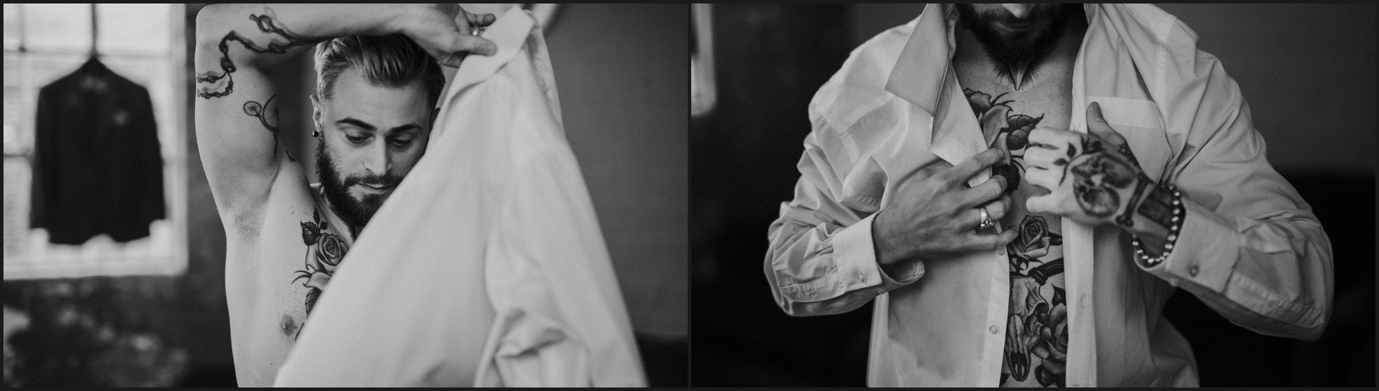 black and white, groom, preparation, tattoos