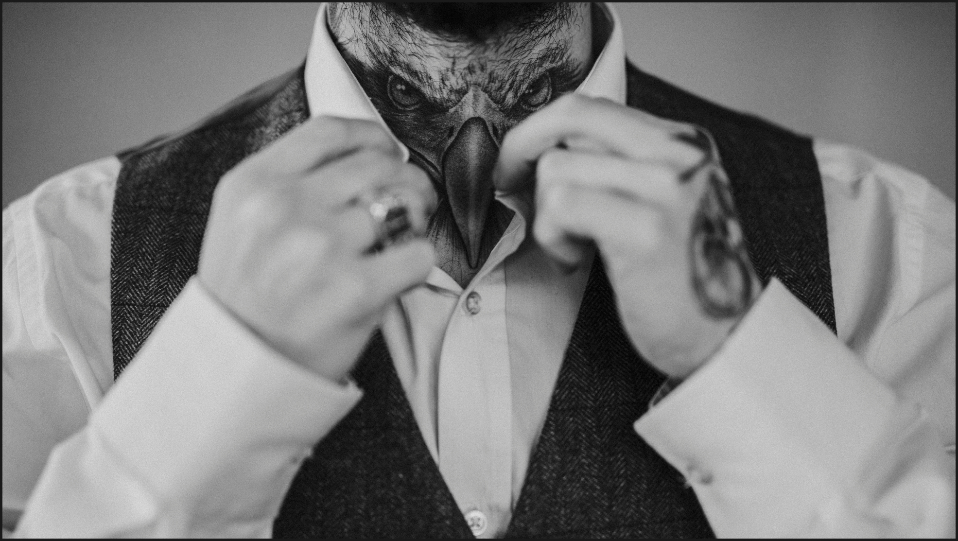 black and white, groom, preparation, getting ready, tattoo