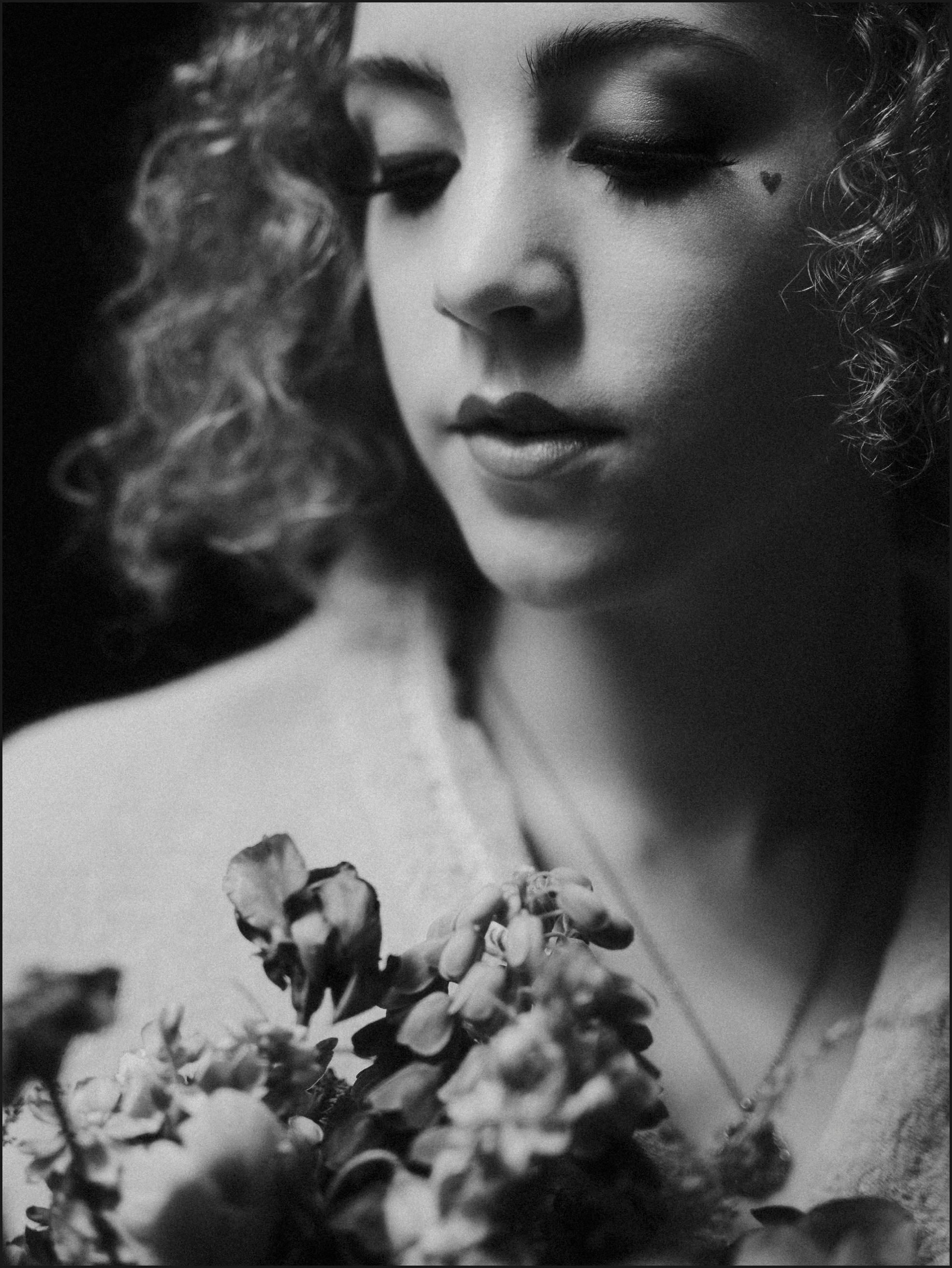 black and white, bride, portrait, bouquet