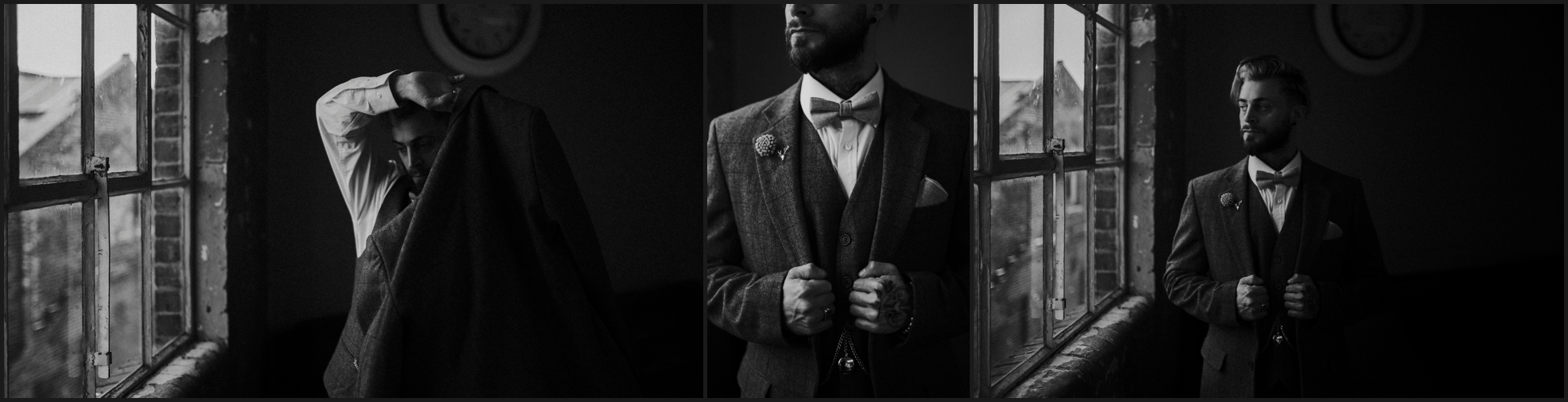 groom, details, suit, steampunk, alternative wedding photographer, pocket watch, black and white