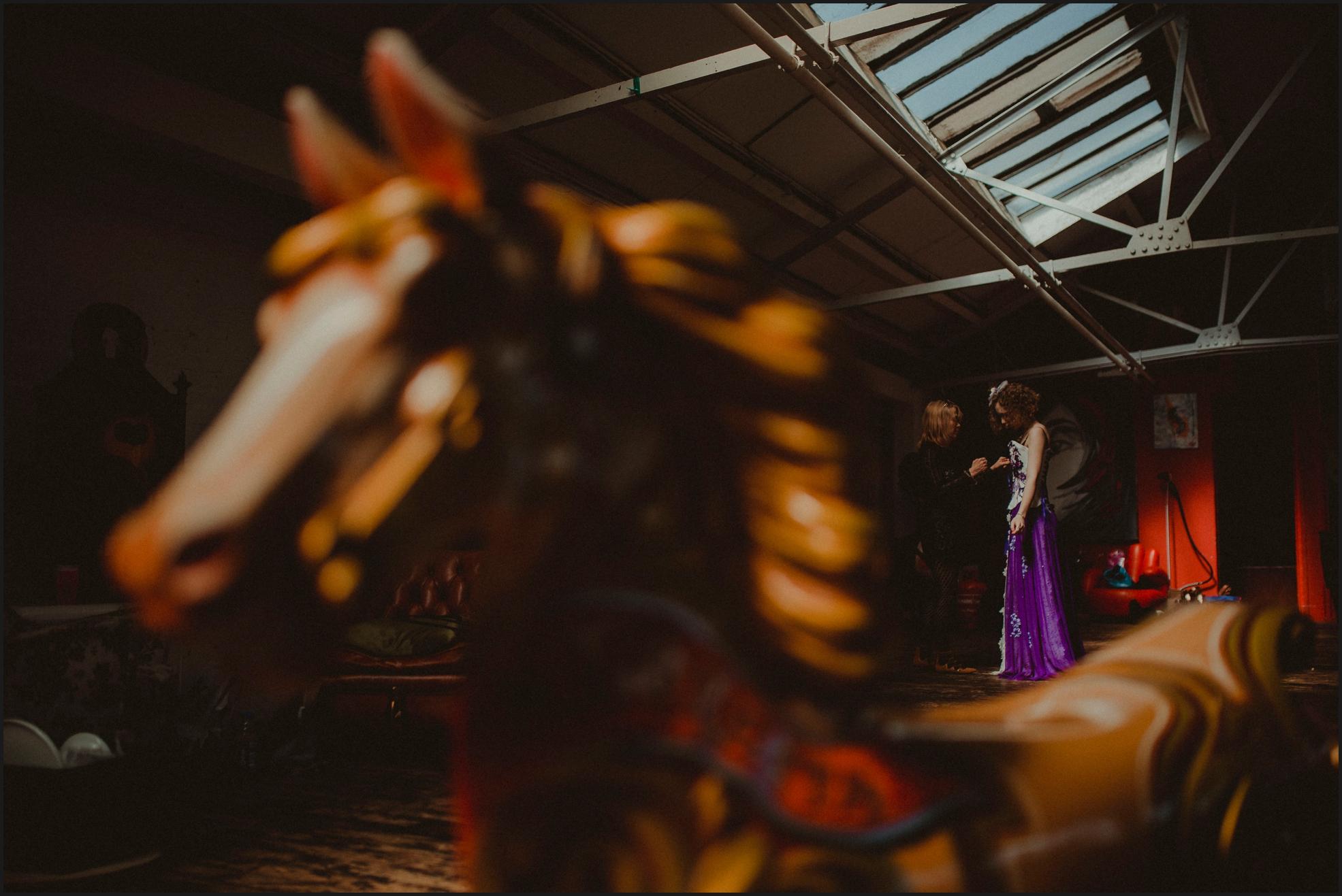 bride, preparation, dress, steampunk wedding