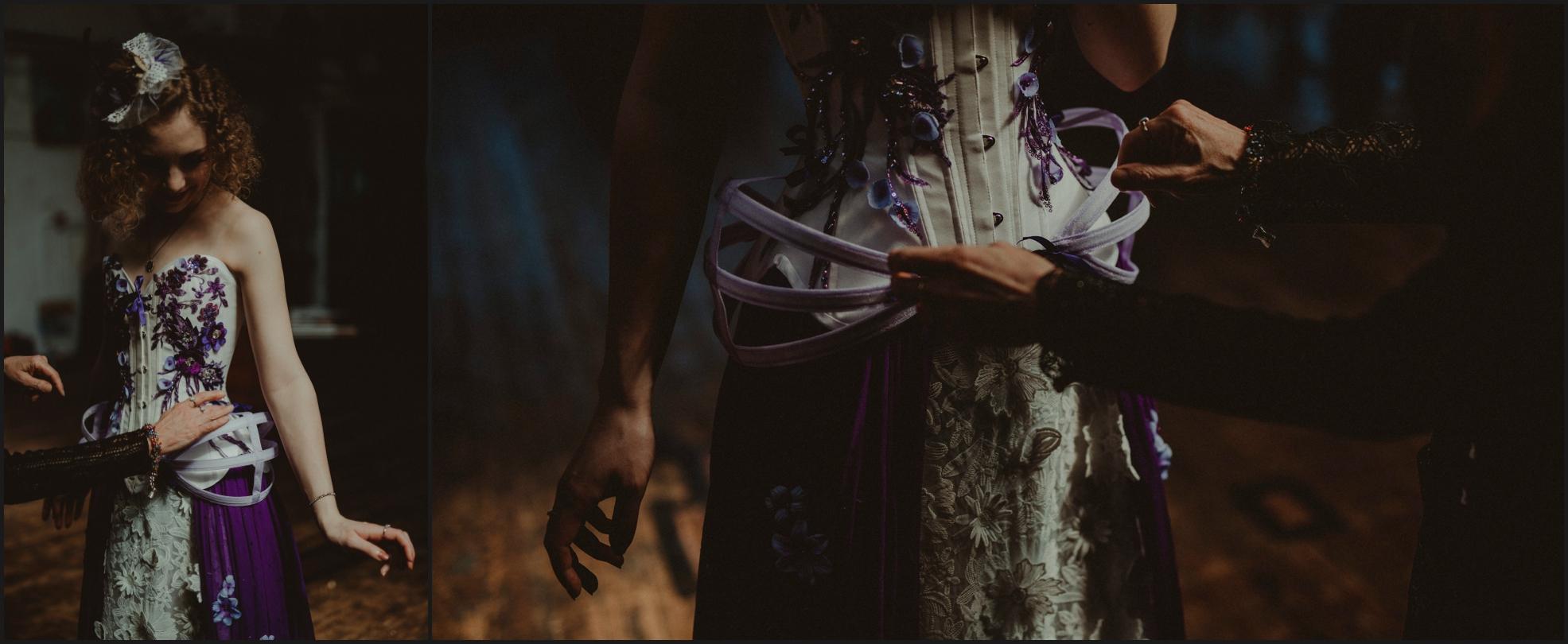 bride, preparation, dress, steampunk, details, hands