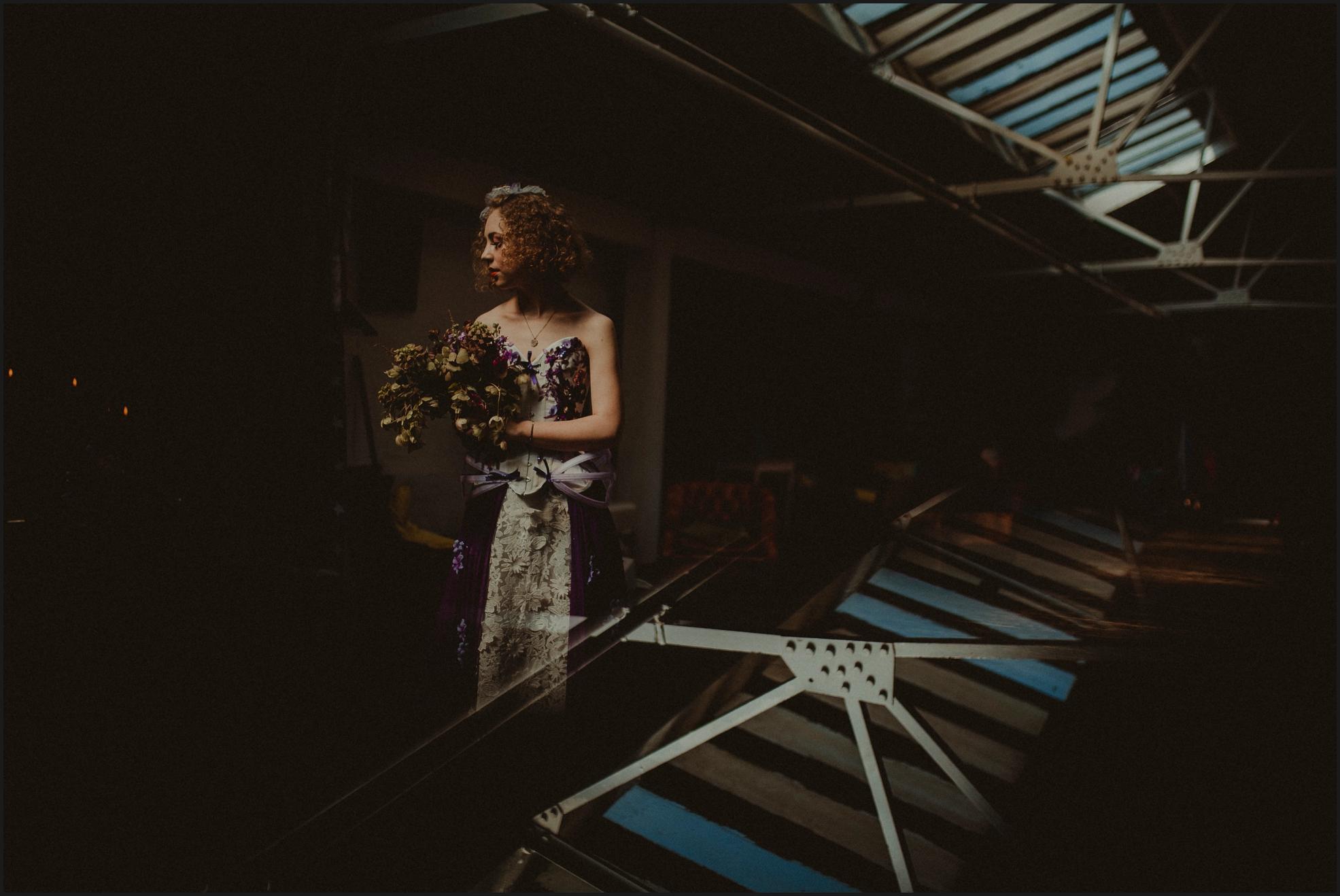 bride, portrait, bouquet, steampunk wedding, alternative wedding photographer