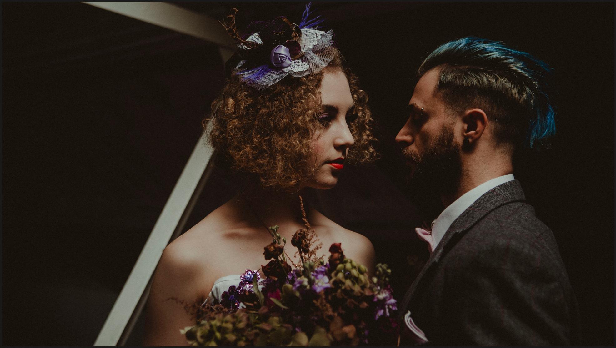 bride, groom, couple, steampunk, wedding, alternative wedding photographer
