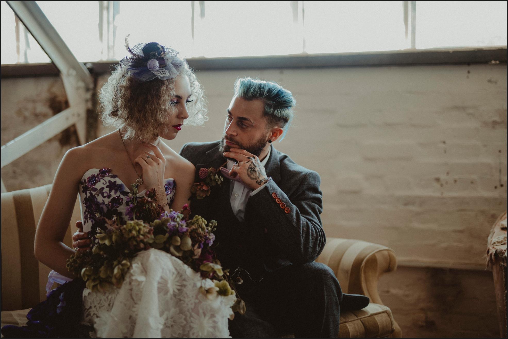 bride, groom, steampunk wedding, alternative wedding photographer, London, intimate