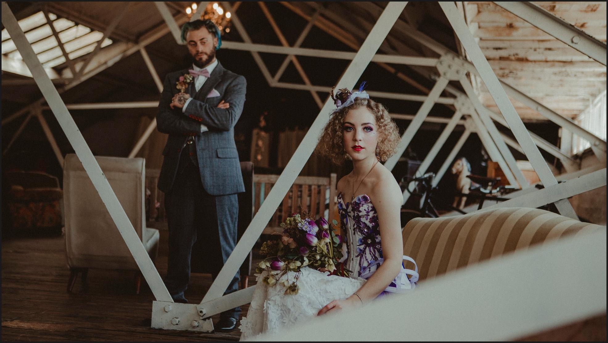 bride, groom, steampunk wedding, alternative wedding photographer, London, intimate, wedding photographer