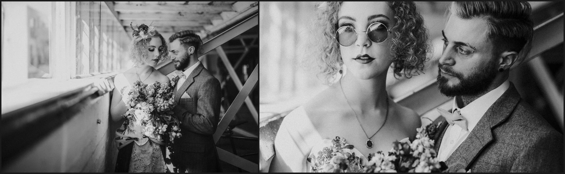 bride, groom, steampunk wedding, alternative wedding photographer, London, intimate, sunglasses, black and white