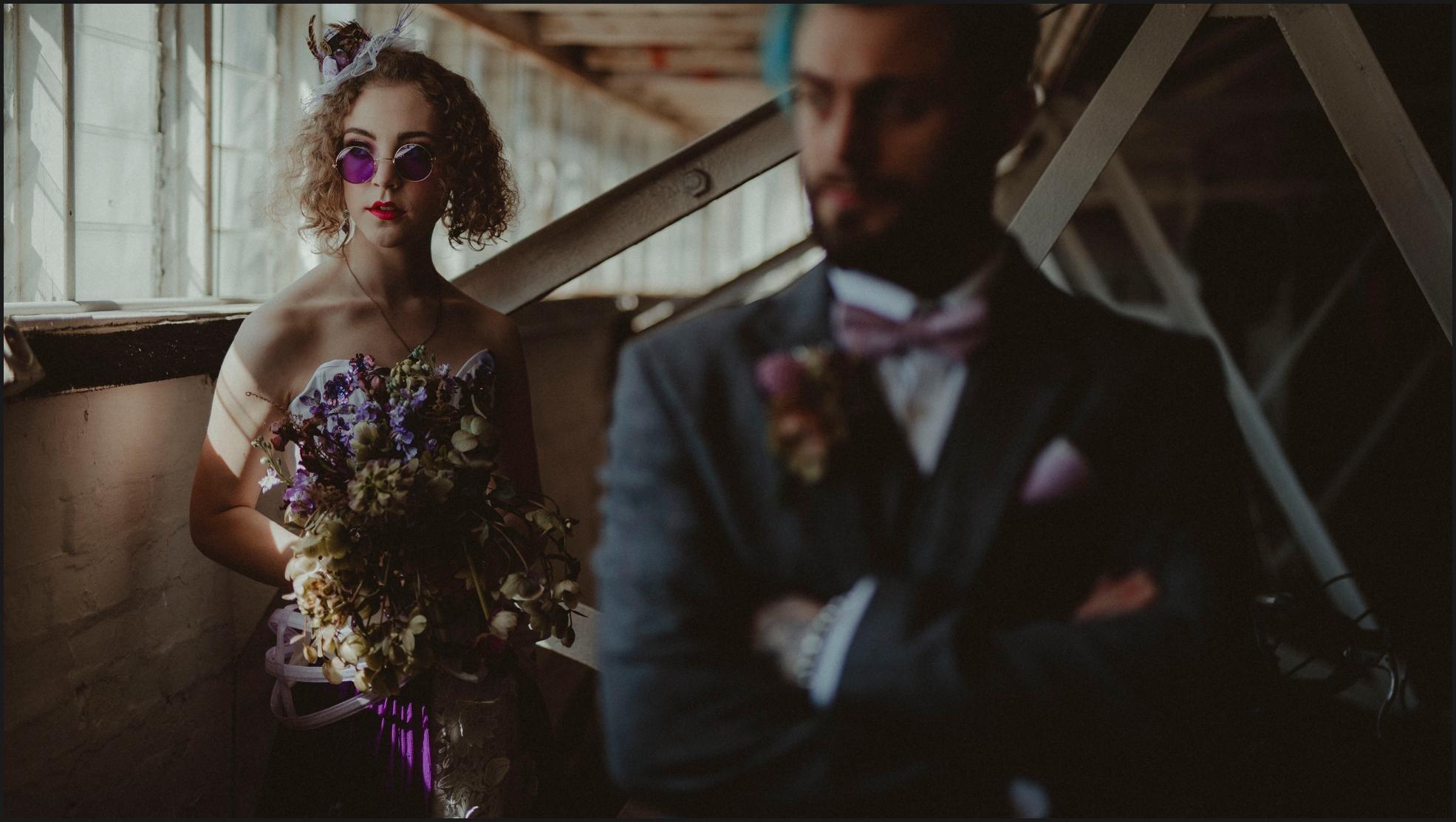 bride, groom, steampunk wedding, alternative wedding photographer, London, intimate, sunglasses