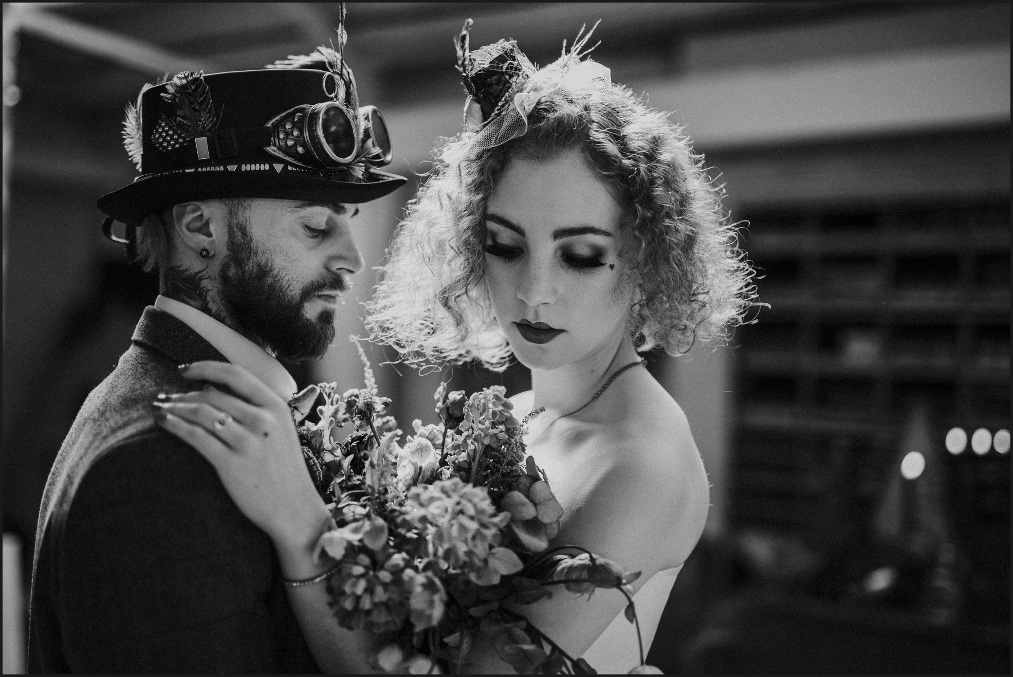 bride, groom, steampunk wedding, alternative wedding photographer, London, intimate, black and white