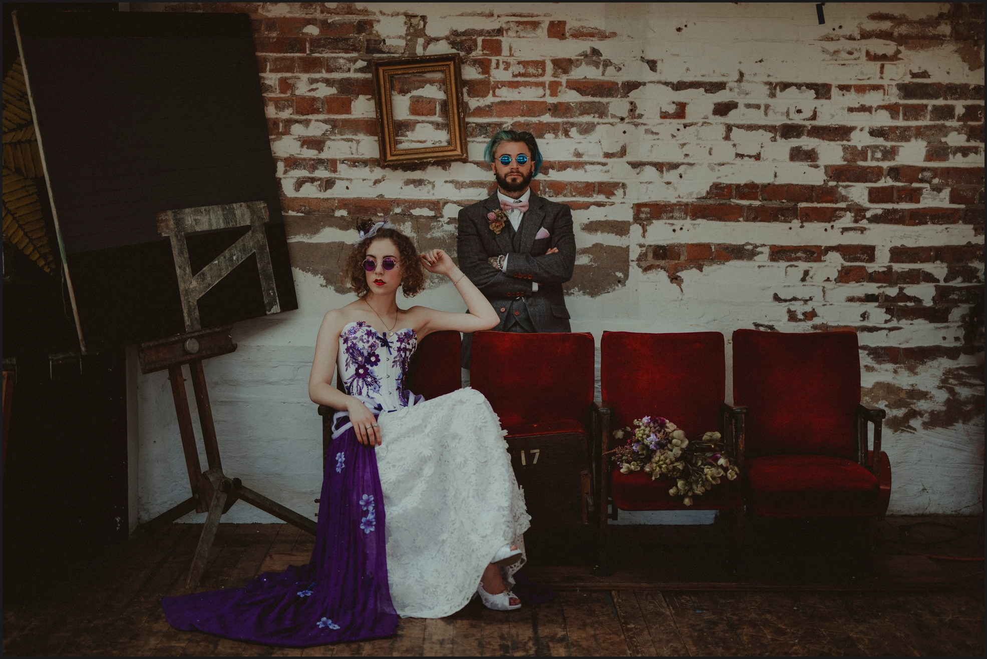 bride, groom, steampunk wedding, alternative wedding photographer, London, intimate, wedding photographer, ultraviolet, industrial