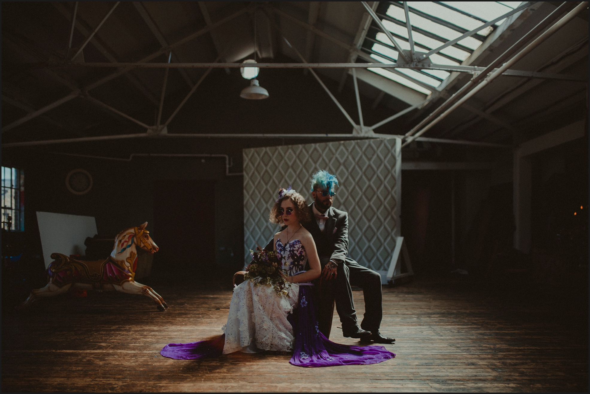 groom, bride, rock wedding, steampunk, ultraviolet, alternative wedding photographer, London