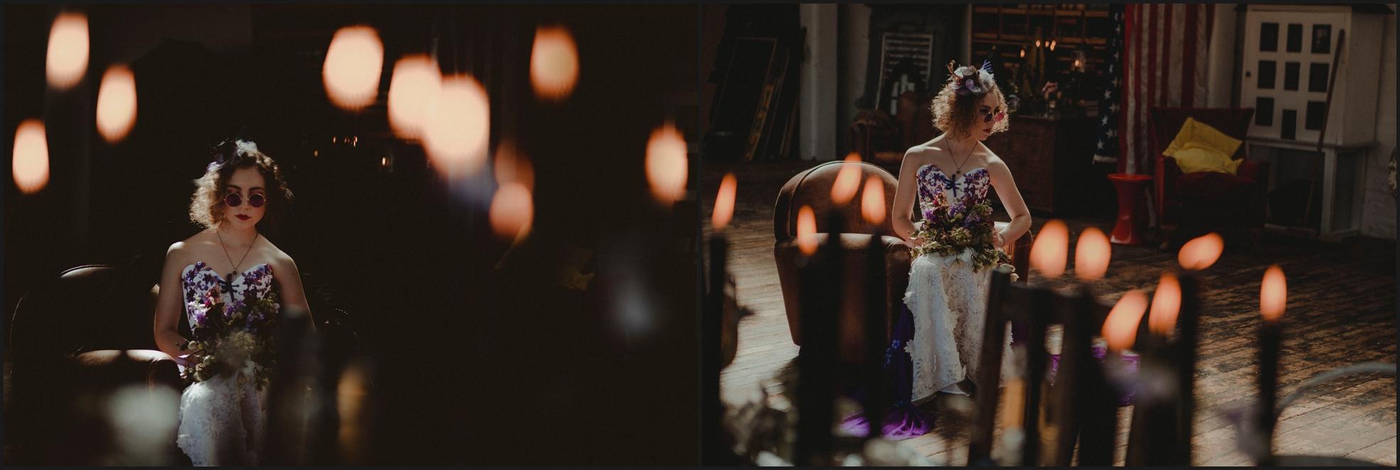 candles, bride, portrait, gothic, bouquet