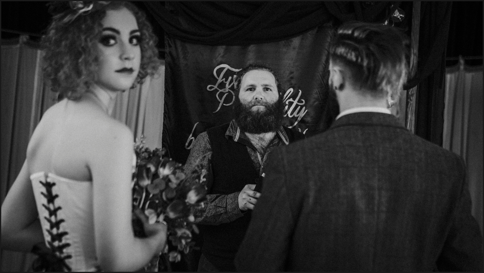 ceremony, wedding ceremony, bride, groom, celebrant, Dalston Heights, London, Steampunk, black and white