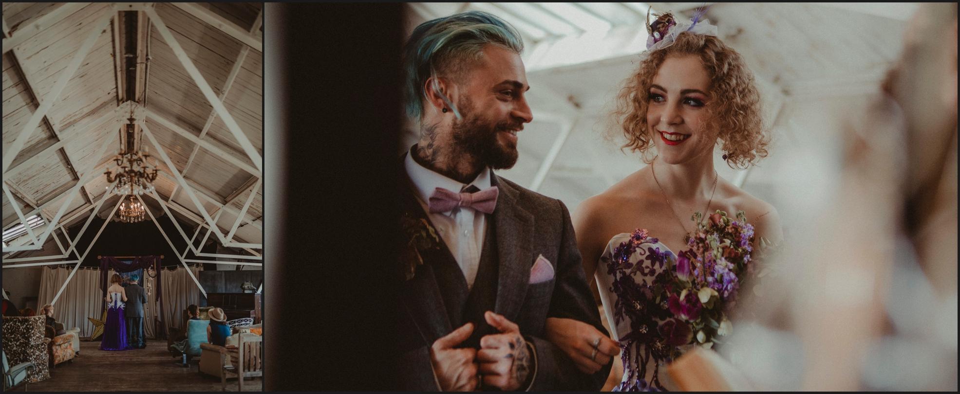 ceremony, wedding ceremony, bride, groom, celebrant, Dalston Heights, London, Steampunk, happy, smiles, couple