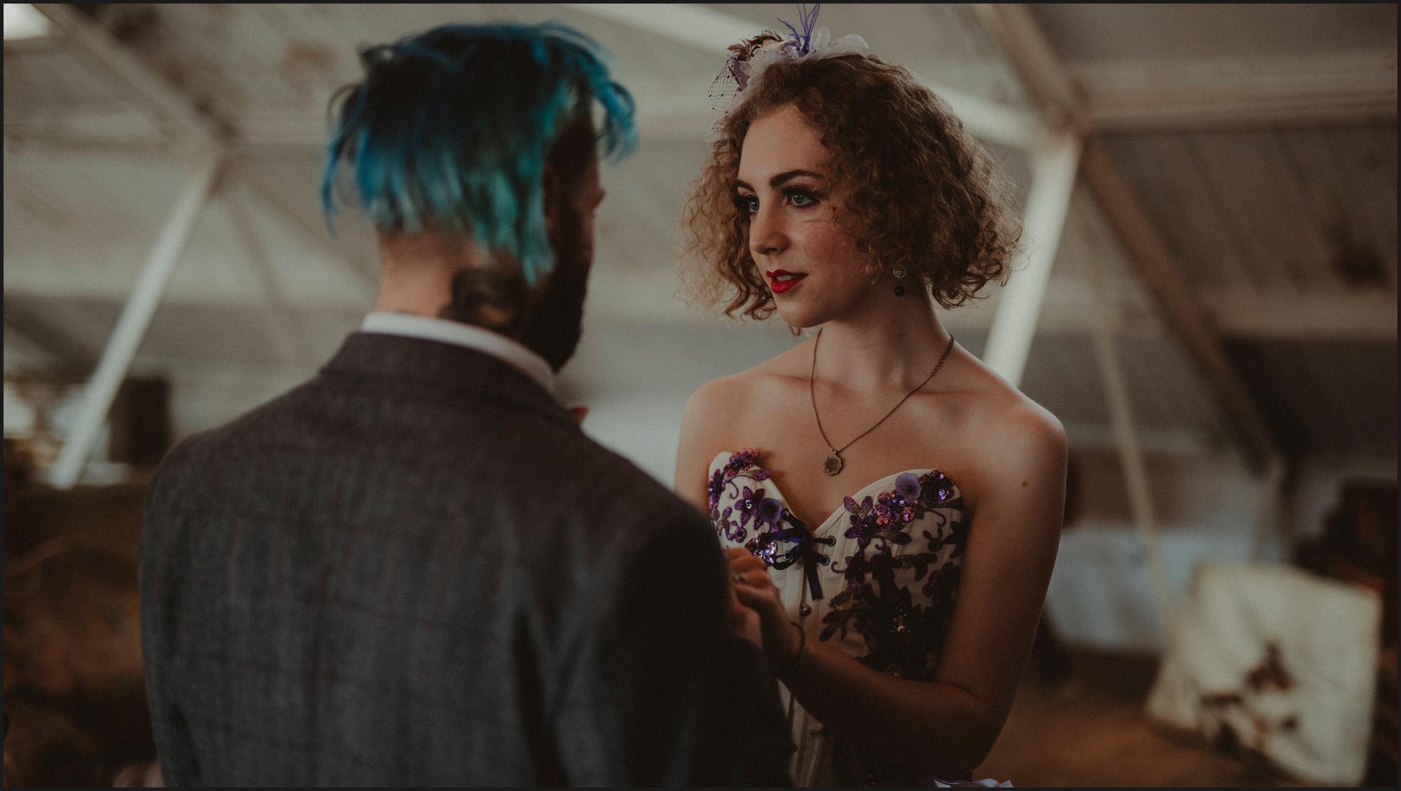 ceremony, wedding ceremony, bride, groom, celebrant, Dalston Heights, London, Steampunk, happy, smiles, couple, intimate