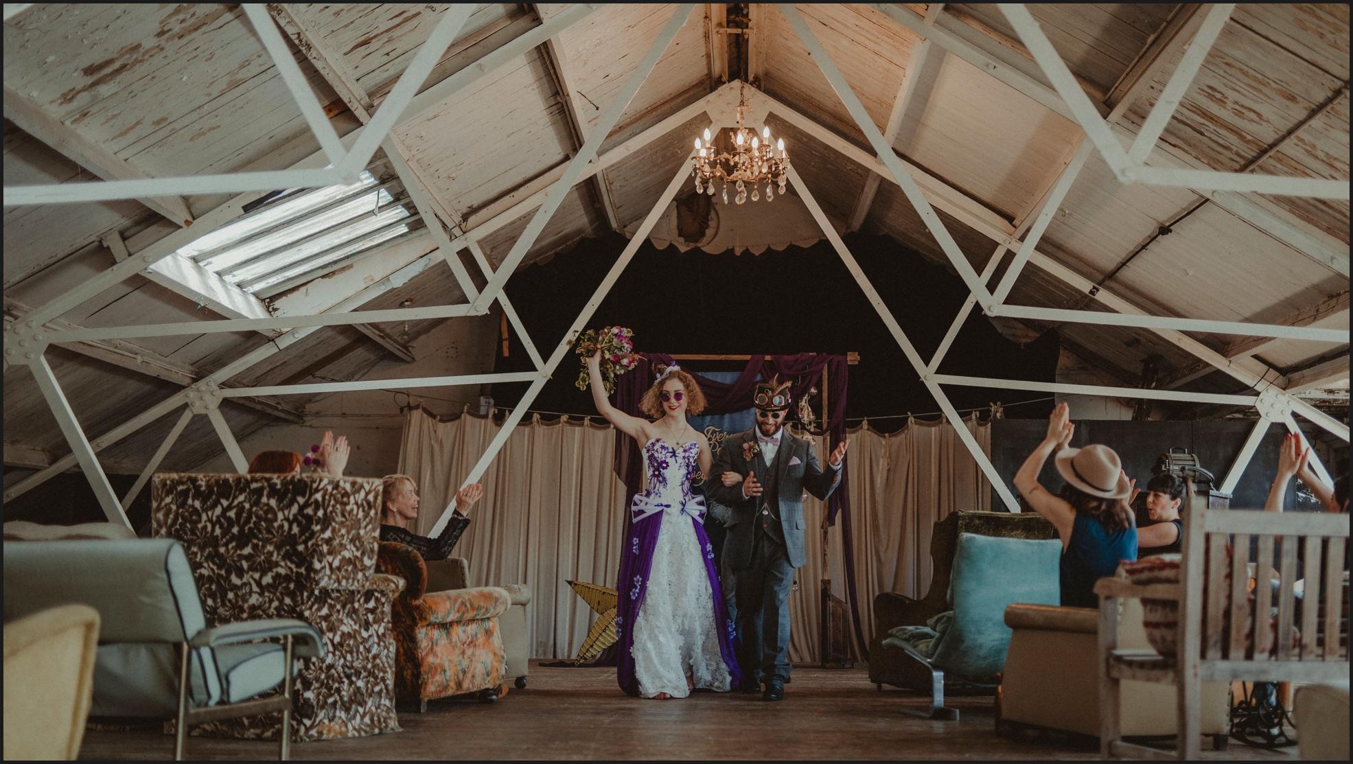 ceremony, wedding ceremony, bride, groom, celebrant, Dalston Heights, London, Steampunk, happy, smiles, couple, funny