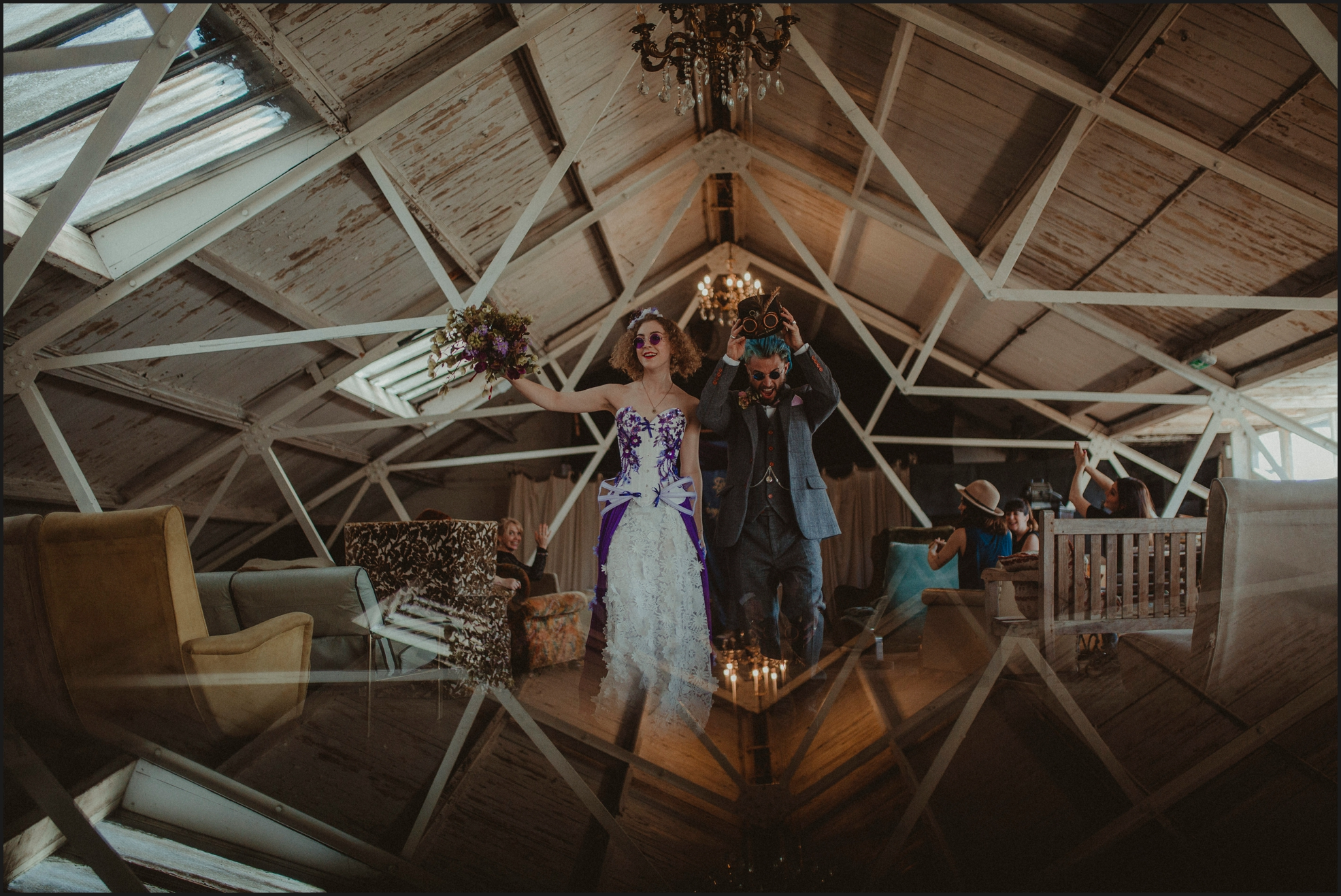 ceremony, wedding ceremony, bride, groom, celebrant, Dalston Heights, London, Steampunk, couple, funny,