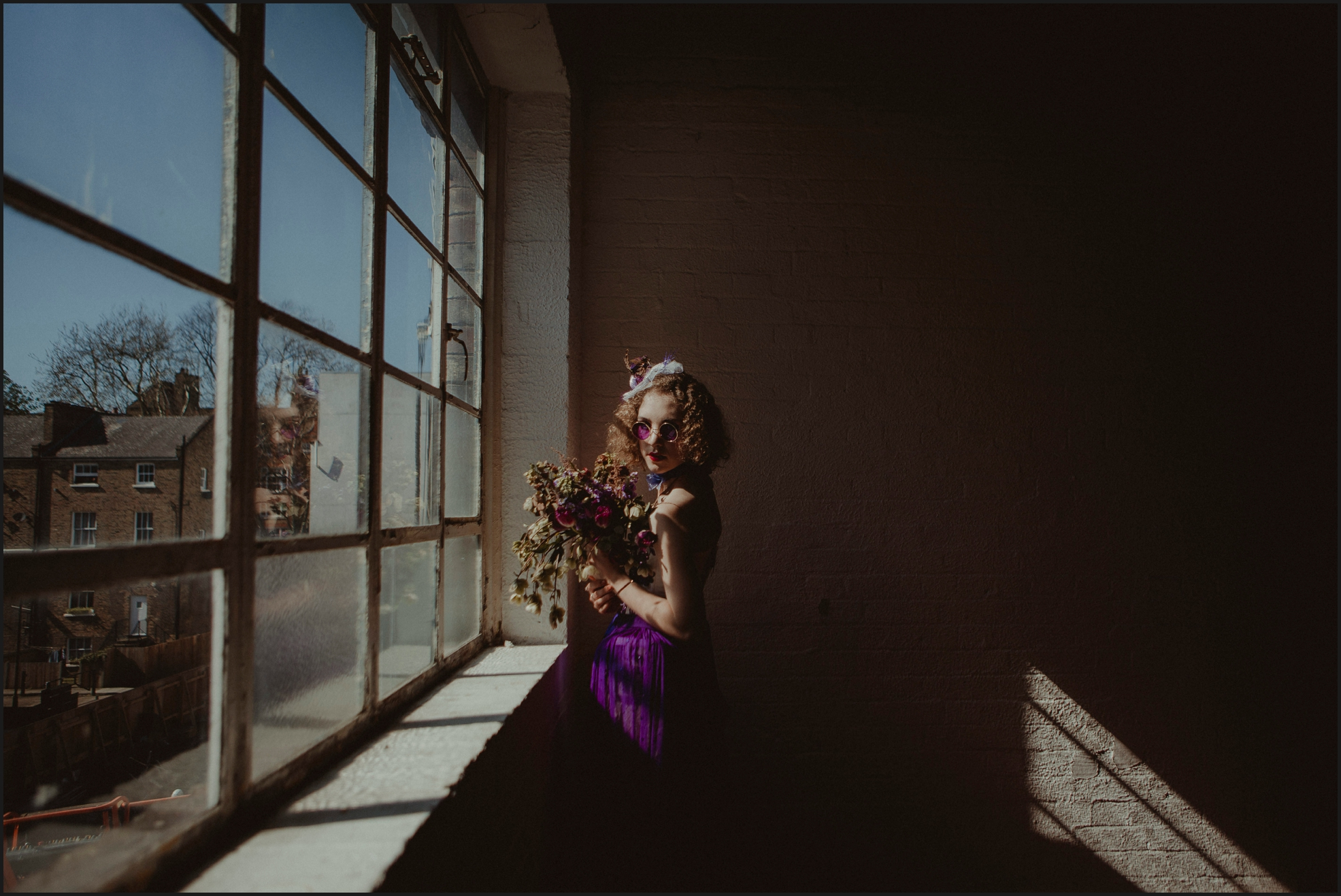 bride, window, light, wedding, windowpane, bouquet, sunglasses