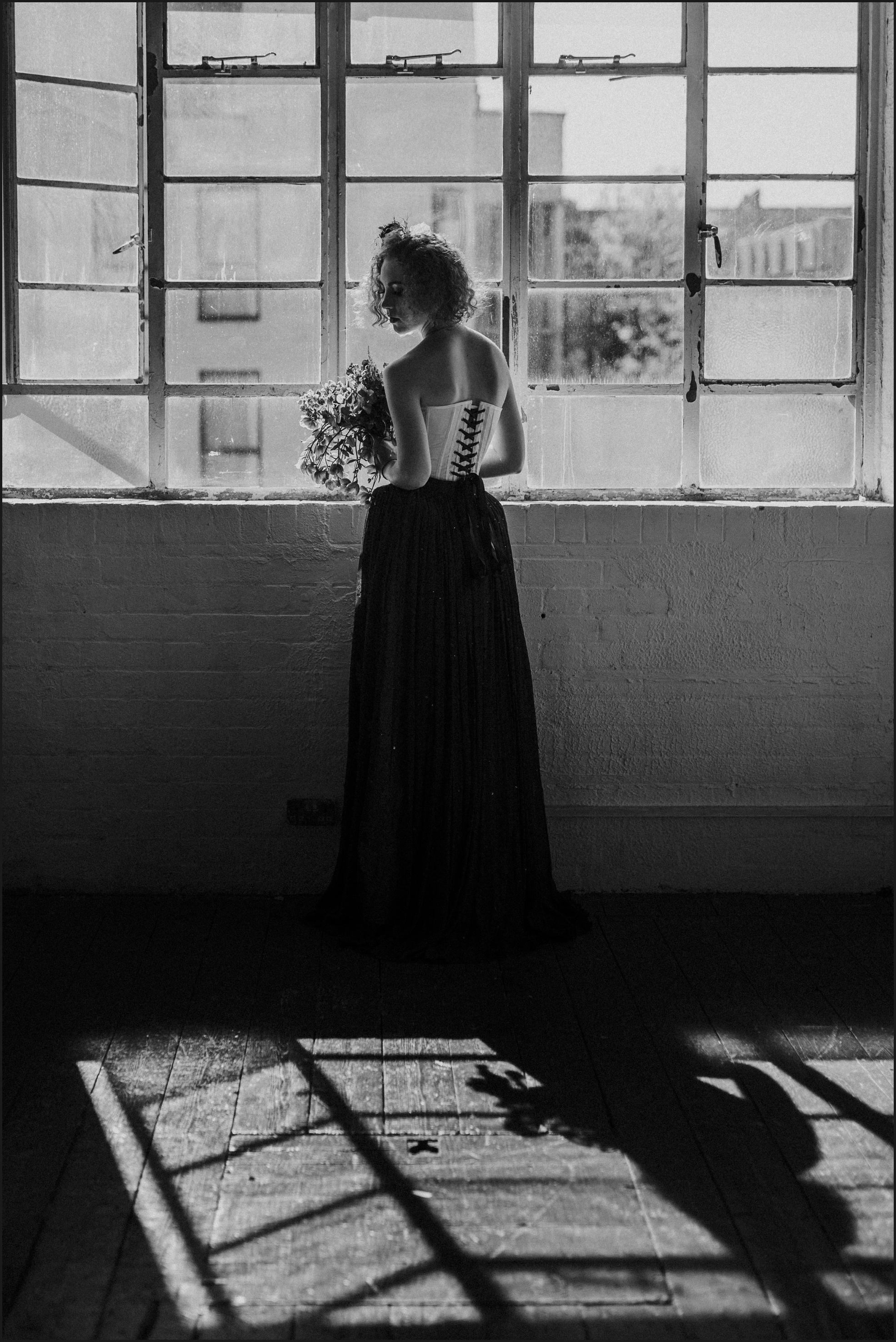 bride, window, light, wedding, windowpane, black and white