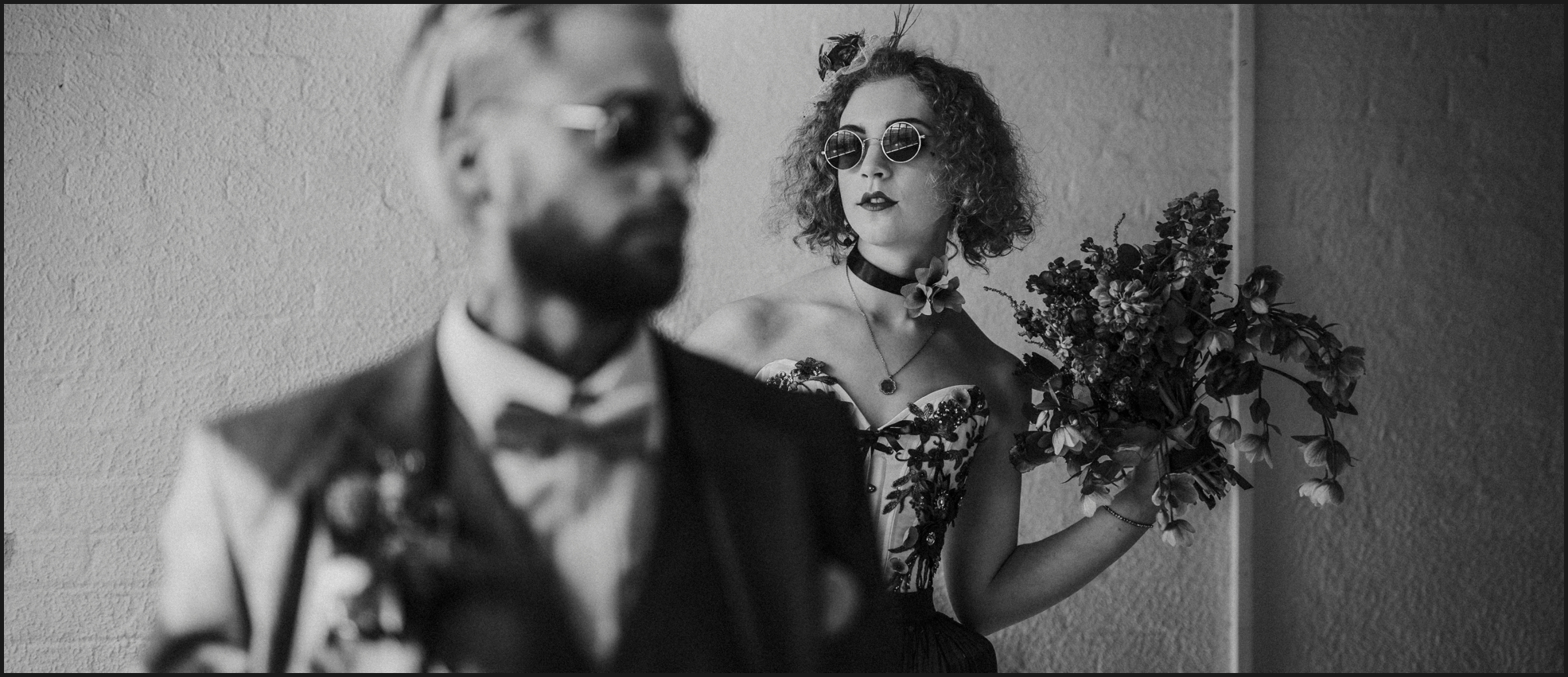 bride, groom, black and white, portrait, London, couple, alternative wedding photographer