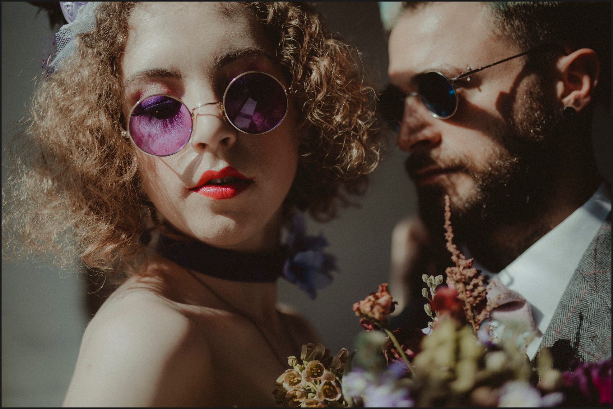 bride, groom, portrait, London, Dalston Heights, sunglasses, ultraviolet, purple, violet