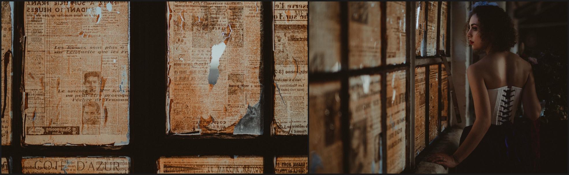 windowpane, bride, newspaper, window, steampunk, wedding, vintage, location, retrò