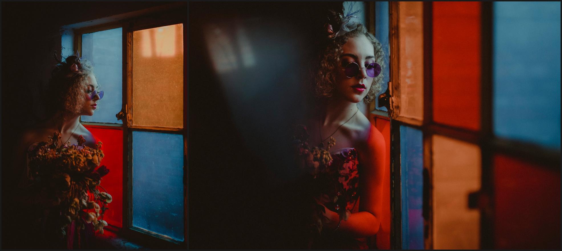 bride, portrait, light reflection, colors