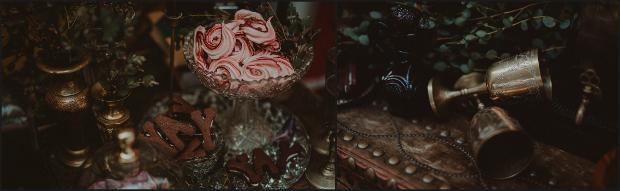 wedding details, sweets, gothic, vintage