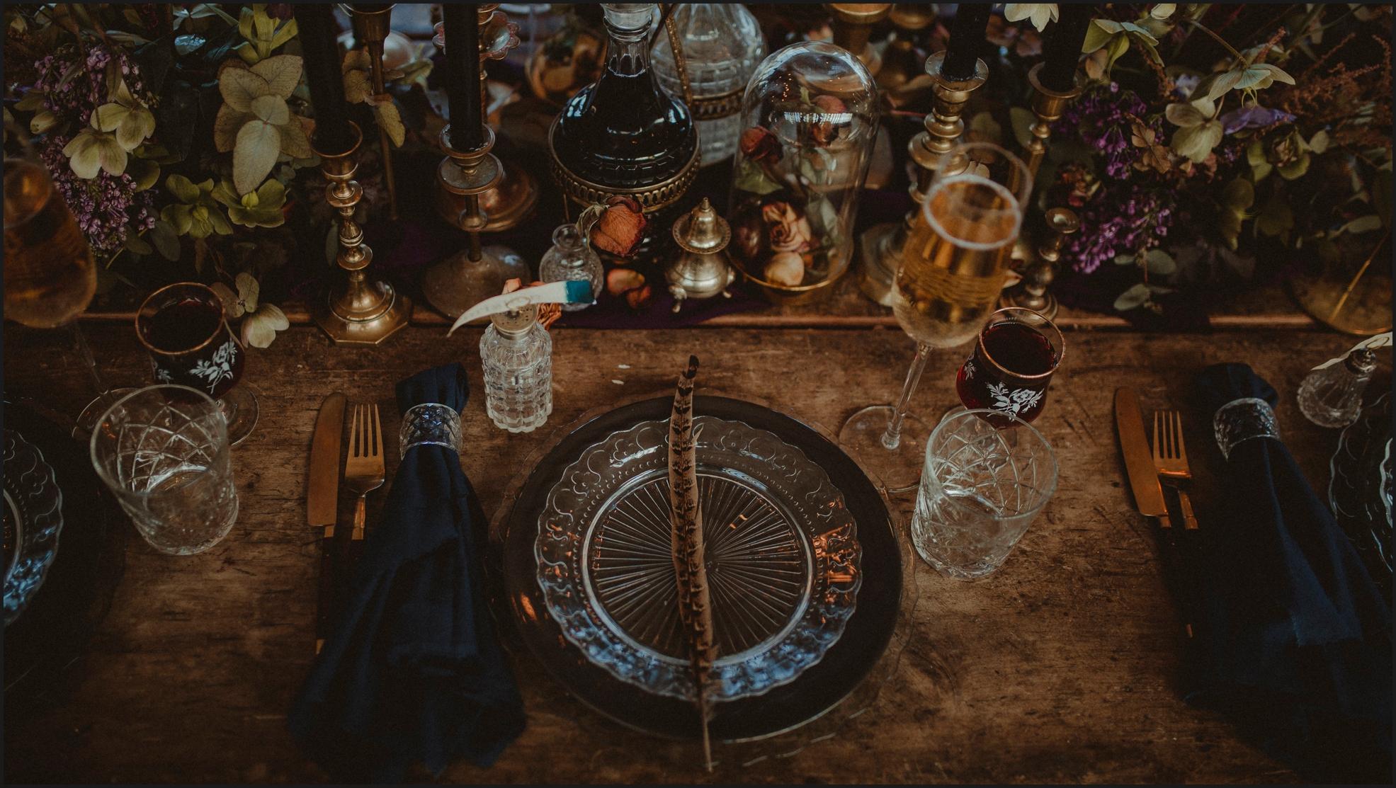 wedding setup, table setup, gothic wedding