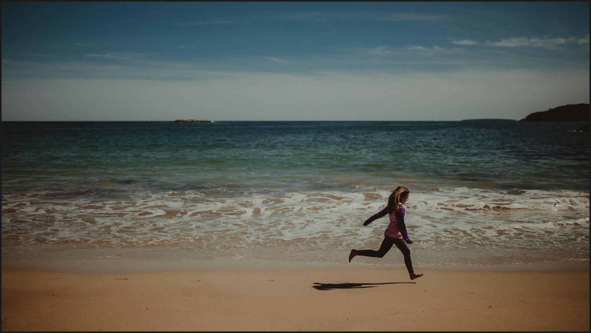 landscape, maine, acadia national park, beach, ocean, child